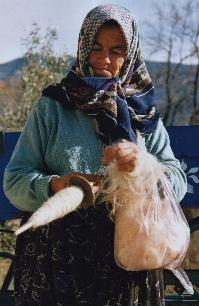 village life - spinning wool